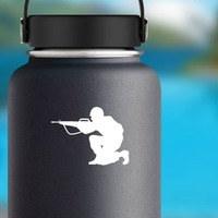 Soldier Aiming Gun Sticker on a Water Bottle example