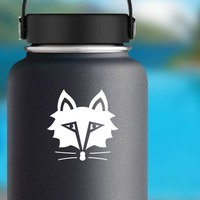 Solemn Fox Face Sticker on a Water Bottle example
