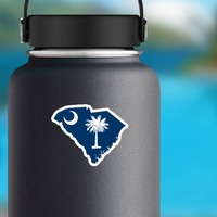 South Carolina Flag State Sticker on a Water Bottle example