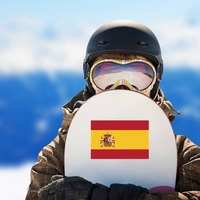 Spain Flag Sticker on a Snowboard example