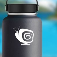 Square Snail Tv Sticker on a Water Bottle example