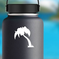 Stable Palm Tree Sticker on a Water Bottle example