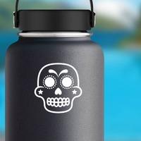 Star Cheeks Decorative Skull Sticker on a Water Bottle example