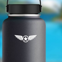 Star Inside Circle With Wings Sticker on a Water Bottle example