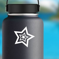 Star Inside Stars Sticker on a Water Bottle example