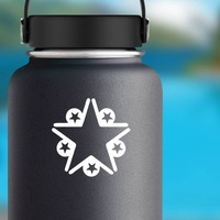 Star With Five Little Stars Sticker on a Water Bottle example