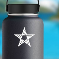 Star With Lines Sticker on a Water Bottle example