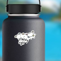 Starry Night Camping Sticker on a Water Bottle example