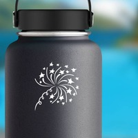 Stars Firework Design Sticker on a Water Bottle example