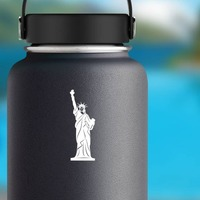 Statue Of Liberty Patriotic Sticker on a Water Bottle example