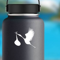 Stork Bird Sticker on a Water Bottle example