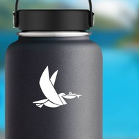 Stork Carrying Fish Sticker on a Water Bottle example