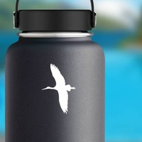 Stork Flying Sticker on a Water Bottle example