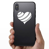 Striped Heart Sticker on a Phone example