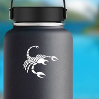Striped Scorpion Sticker on a Water Bottle example