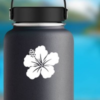 Stunning Hibiscus Flower Sticker on a Water Bottle example
