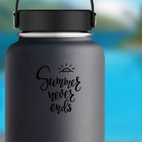 Summer Never Ends Lettering Sticker on a Water Bottle example
