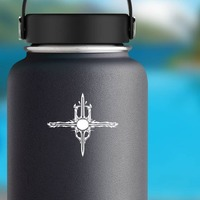 Sun Cross With Sword Blades Sticker on a Water Bottle example