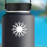 Sun With Drops Sticker on a Water Bottle example