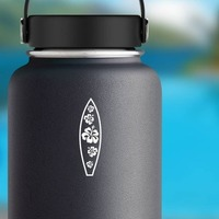 Surfboard With Five Hibiscus Flowers Sticker on a Water Bottle example