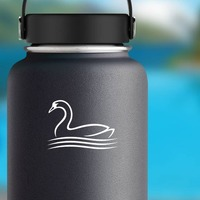 Swan Outline Sticker on a Water Bottle example