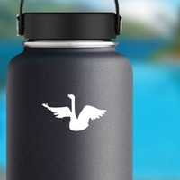 Swan Singing Sticker on a Water Bottle example