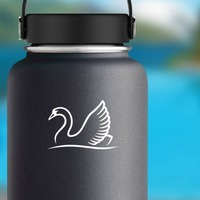 Swan Swimming Sticker on a Water Bottle example