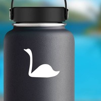 Swan With Long Neck Sticker on a Water Bottle example