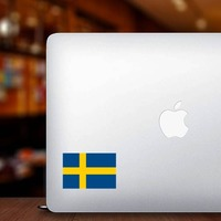 Sweden Flag Sticker on a Laptop example