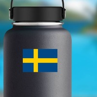 Sweden Flag Sticker on a Water Bottle example