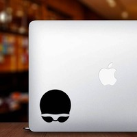 Swim Cap and Goggles Swimming Sticker on a Laptop example