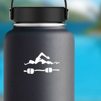 Swimmer And Bouys Sticker on a Water Bottle example