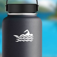 Swimmer Sticker on a Water Bottle example