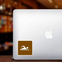 Swimming Area Sticker on a Laptop example