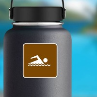 Swimming Area Sticker on a Water Bottle example