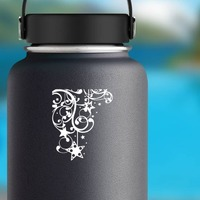 Swirl's And Stars Decorative Border Sticker on a Water Bottle example