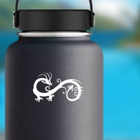Swirly Chinese Dragon Sticker on a Water Bottle example