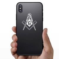 Swirly Mason Masonic Construction Sticker on a Phone example