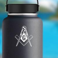 Swirly Mason Masonic Construction Sticker on a Water Bottle example