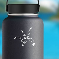 Swirly Shooting Stars Sticker on a Water Bottle example