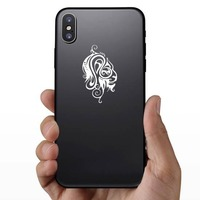 Swirly Tribal Lion Head Sticker on a Phone example