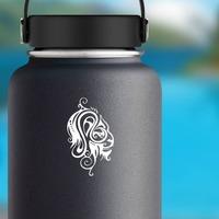 Swirly Tribal Lion Head Sticker on a Water Bottle example
