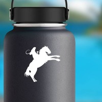 Talented Cowboy Riding A Horse Sticker on a Water Bottle example
