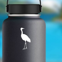 Tall Crane Sticker on a Water Bottle example