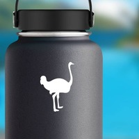 Tall Ostrich Sticker on a Water Bottle example