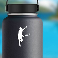 Tennis Player Hitting Ball Sticker on a Water Bottle example
