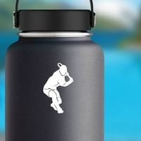 Tennis Player Swinging Low Sticker on a Water Bottle example