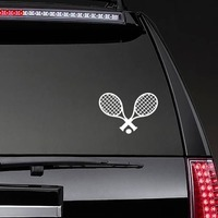 Tennis Racquets And Ball Sticker on a Rear Car Window example