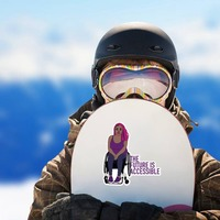 The Future Is Accessible Sticker on a Snowboard example