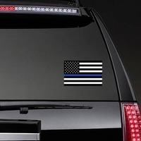 The Thin Blue Line Us Flag Sticker on a Rear Car Window example